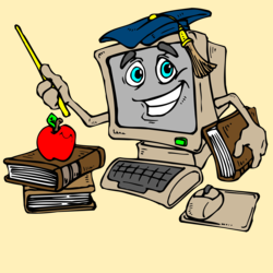 computer with a face teaching to a stack of books